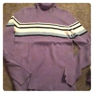 Purple Striped Turtle Neck Long Sleeve Shirt
